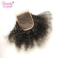 Бразильские волосы афро кудрявый вьющиеся волосы Синтетическое закрытие шнурка волос бесплатная часть 4*4 Человеческие волосы Синтетическ...