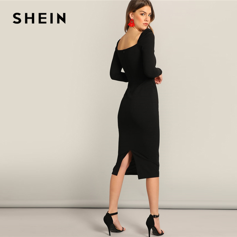 SHEIN Black Surplice Neck Split Pencil Plain Bodycon Dress Women's Dresses Women's Shein Collection