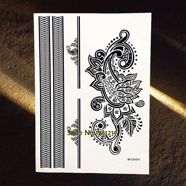 Besar Tubuh Art Henna Mehndi Indian Totem Lace Tattoo Stiker Bunga