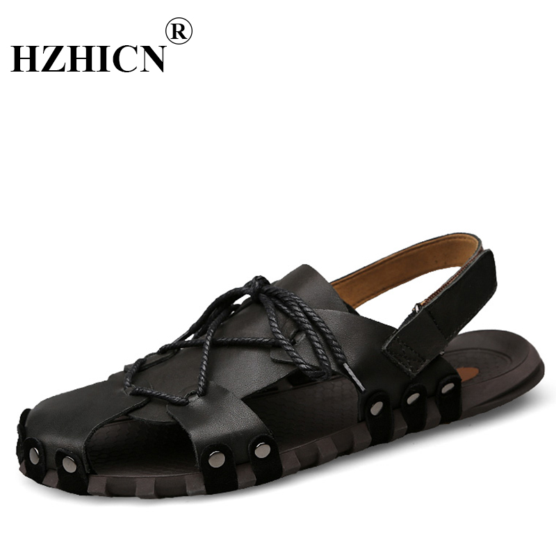 Cow Leather Mens Sandals Black Brown Hand Sewing Men Summer Shoes Breathable Beach Shoes Antiskid Zapatos Hombre Slippers YOGCU