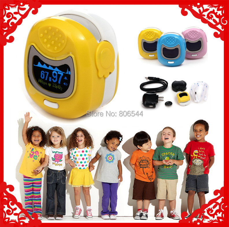 Free ship Yellow Color OLED Fingertip Pulse Oximeter for Children for kid Spo2 Monitor Kids blood oxygen monitor baby care color oled wrist fingertip pulse oximeter with software spo2 monitor