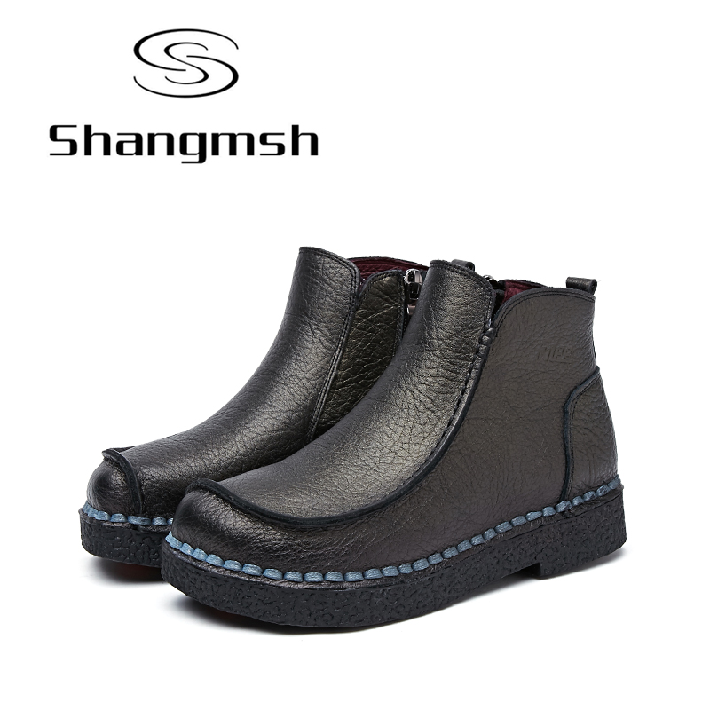 Shangmsh 2017 New Ankle Women Boots Genuine Leather Fashion Retro Handmade Shoes Comforable White Boots Footwear Female Flats