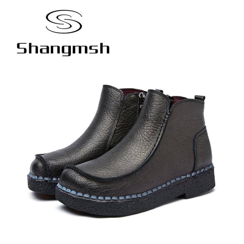 Shangmsh font b 2017 b font New Ankle Women Boots Genuine Leather Fashion Retro Handmade Shoes