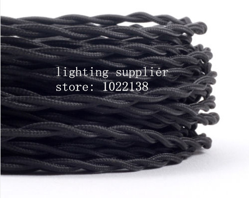 3 noyaux différentes couleurs tressé textile tissu câble 3*0.75mm tissu enduit silicone câble bricolage vintage pendentif lampe tissu fil - 3