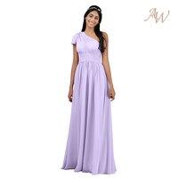 AW Asymmetrische Lange Bruidsmeisje Jurk Chiffon Bruids Feestjurk Prom Gown Maxi