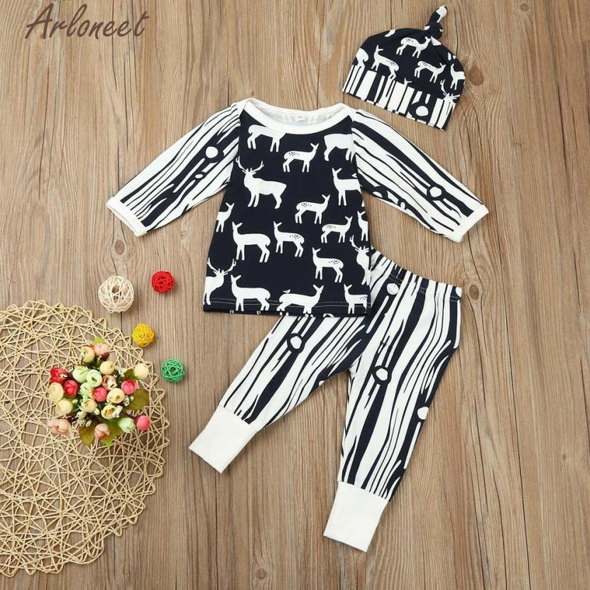 ARLONEET New Year Fashion Baby Boy Girl Clothes Newborn Baby Girls Boys Deer Print Tops Shirt Pants 3PCS Outfits Set Clothes #