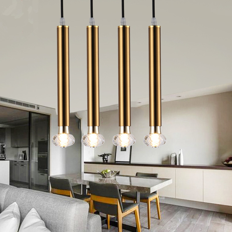 Modern Simple Gold Art Dining Room Pendant Light Restaurant Bedroom Crystal Lights Cafe Bar With Crystal Bulb Free Shipping