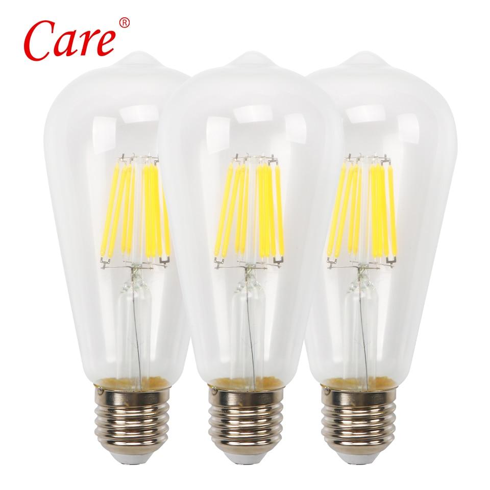 Care LED Decoration Filament Bulb ST64 Transparent Lamp 8W E27 3000K LED Edison Bulbs Lamp Lighting Bulbs Lampada LED For Bar