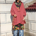 Women new cotton linen double stitch cotton handmade button warm leisure covered shawl