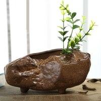 Antique Chinese Style Ceramic Irregular Shape Vase Handmade Pottery Flower Pot Stoneware Art and Craft Decoration Accessories