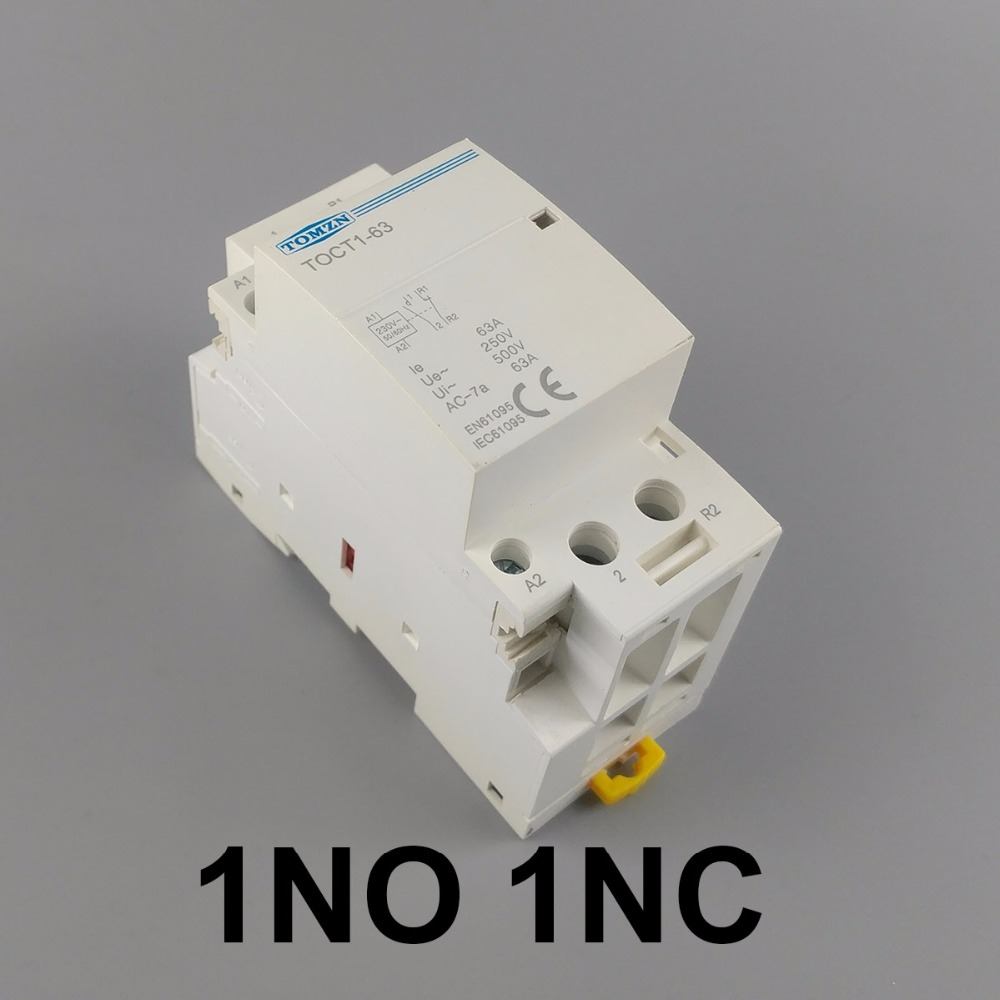 TOCT1 2P 63A 1NC 1NO 220V/230V 50/60HZ Din rail Household ac Modular contactor toct1 2p 16a 220v 230v 50 60hz din rail household ac modular contactor 2no or 1no 1nc