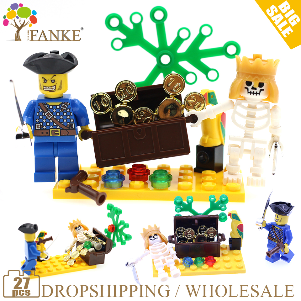 312 27P Pirate Treasure Caribbean Constructor Model Kit Blocks Compatible LEGO Bricks Toys For Boys Girls Children Modeling