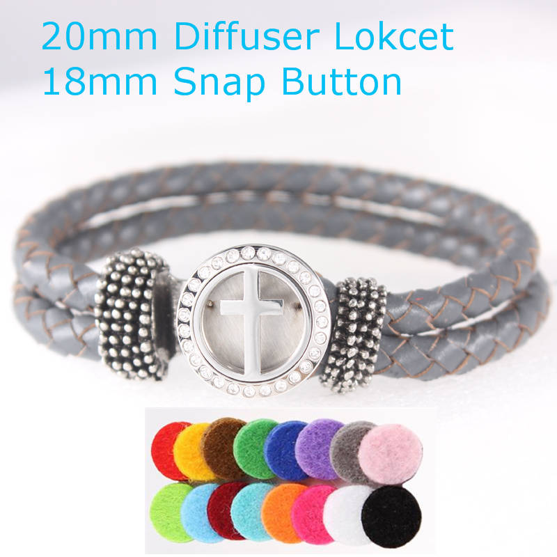 Cross Bracelets Real Leather Essential Oil Diffuser Locket 18mm Snap Button Bracelets for Women Aromatherapy Bracelet&bangle