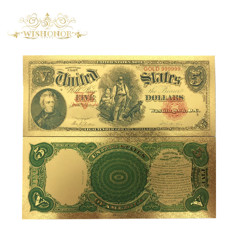 Souvenir Money For 10Pcs/Lot For 1907's America Banknotes <font><b>5</b></font> <font><b>Dollar</b></font> <font><b>Bills</b></font> Banknote in 24K Gold Plated Paper Money For Collection image