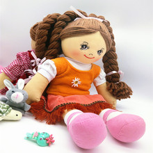 Smafes 18 inch soft rag doll toy for girls with cloth hair kids bithday christmas doll