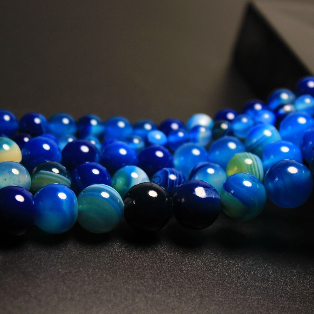 AAA Blue Stripe Onyx Agat Round Bead High Quantity Natural Stone Beads 4 6 8 10