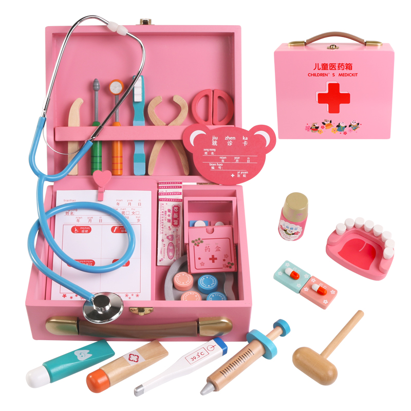 wooden doctor toy portable medicine box simulation medicine box Pretend Doctor Kit injection tool home stethoscope girl giftswooden doctor toy portable medicine box simulation medicine box Pretend Doctor Kit injection tool home stethoscope girl gifts