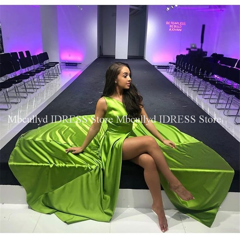 Chic Sage Satin A line Prom Dresses With Slitt 2019 Backless Long Formal Long Evening Dress Party Gown Plus Size Robe de soiree-in Prom Dresses from Weddings & Events