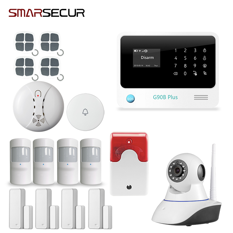 Smart Home G90B Plus WiFi GSM SMS GPRS Autodi Alarm System Intruder Burglar+ smoke detector 3G panel for option s265 direct factory gsm sms gprs 3g 4g temperature