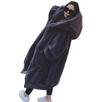 Новые зимние женские пальто с мехом Модная high end искусственного кролика волосы густые толщиной средней длины волос пальто Меховые пальто