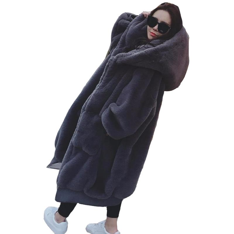 Nouvelles Femmes D'hiver de Manteau De Fourrure À La Mode Haut de Gamme Faux Lapin Cheveux Épais-Épais Moyen Cheveux Longs Manteaux De Fourrure manteaux 1.5