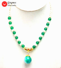 Qingmos Green Jades and white Round Natural Pearl Necklace for Women with 20mm Jades Beads Pendant Necklace Chokers Jewelry 6302(China)