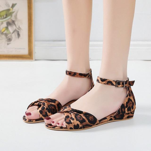 KLV/женские роскошные леопардовые сандалии обувь лето лук пряжки ремень открытый носок пляжные дышащие сандалии римская обувь Sandalias Mujer 2019