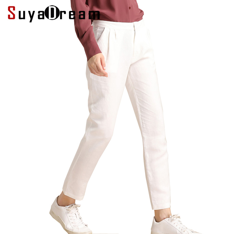 Women Pants 50% REAL silk 50%Linen White Ankle-Length Casual Pants 2018 Spring New Trousers Navy inc new navy blue women s size 16 gathered hem linen capri cropped pants $69