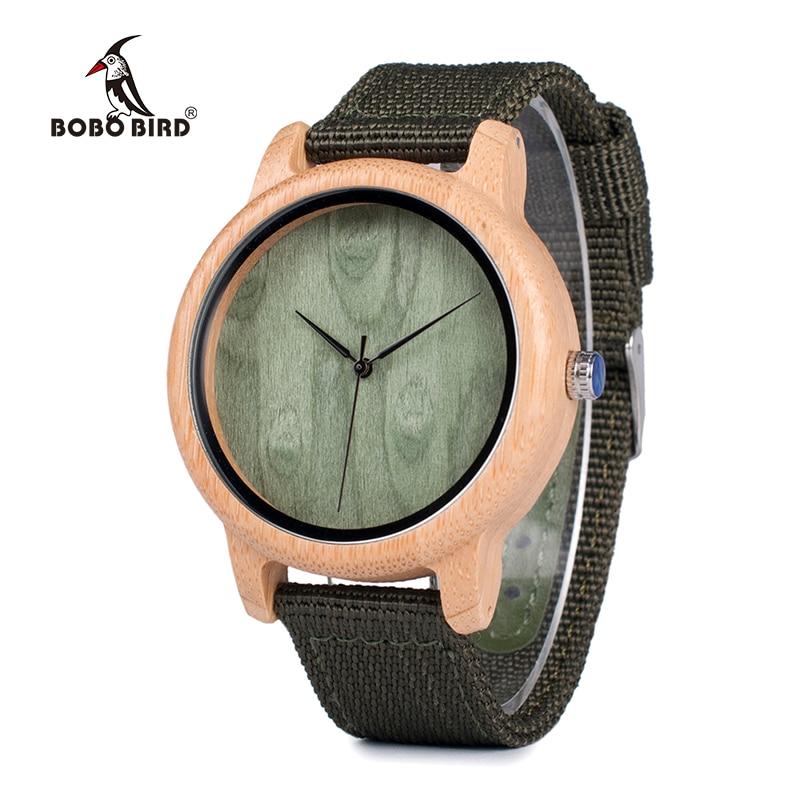 BOBO BIRD WD11D12 Wood Bamboo Watch For Mens Womens Brand Designer Watches Soft Nylon Band Carton Gift Box Relogio Masculino