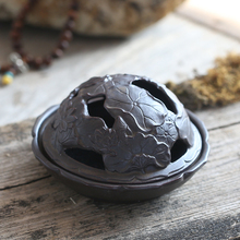 Creative Sculpture Vintage Pattern Auspicious Coil Ceramic Incense Burner with Hollow Cover Home Art Decoration Christmas Gifts