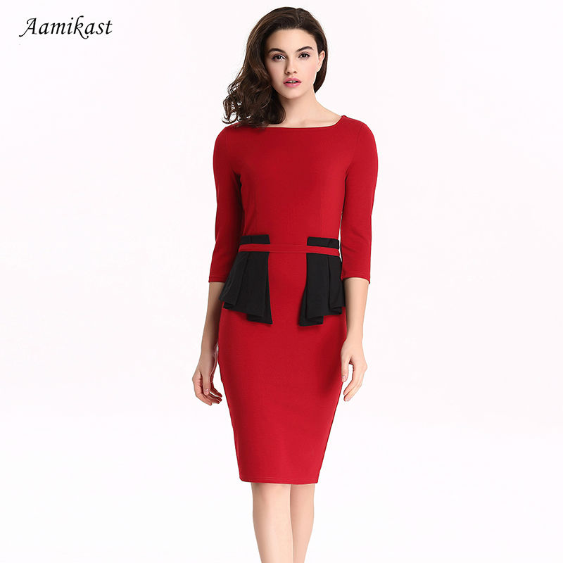 Aamikast Women Patchwork Cascading Ruffle Peplum Dress Y Elegant O Neck Dresses Las Evening Party