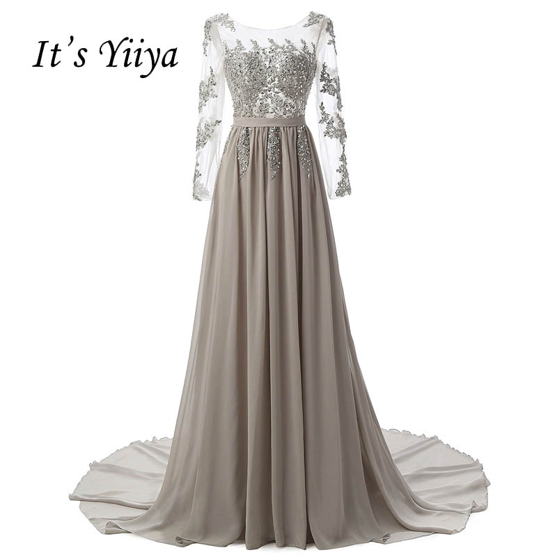 It's Yiiya Illusion Backless Long Sleeves Zipper Tulle Appliques Lace Train Evening Dresses Draped Party Gown Prom Dress 2501-2