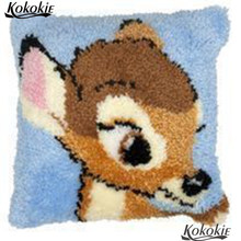 Kartun Karpet Kait Karpet Kit Rusa Pola Menjahit Merajut Karpet Kit Benang Cross Stitch Kit Bordir Sarung Bantal(China)