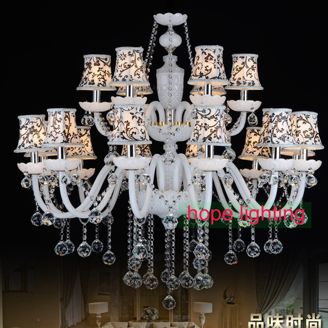 Modern Crystal Chandelier With Fabric Lampshade European Style Chandeliers Victorian Glass Arms Lighting Foyer Room