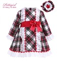 Pettigirl  Boutique Grid Girls Dresses With Headwear Lace Cuff England Style Costumes with Bow For Kids Dresses G-DMCS908-880