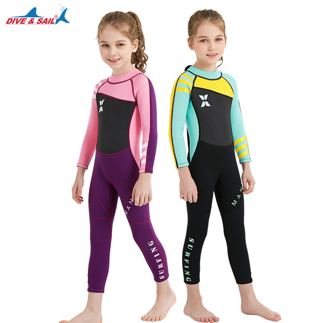 2.5MM Kids Neoprene Diving Suits Children One Piece Long Sleeves Diving  Wetsuits Boys Girls UV ca39b2163