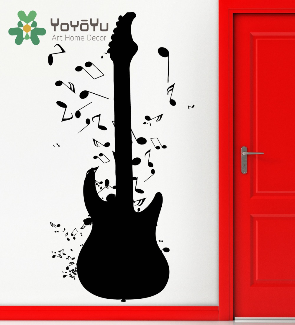 Art Removable Wall Stickers Vinyl Decal Guitar Notes Rock N Roll Music Mural Diy Home Decoration Ny 97 In From Garden