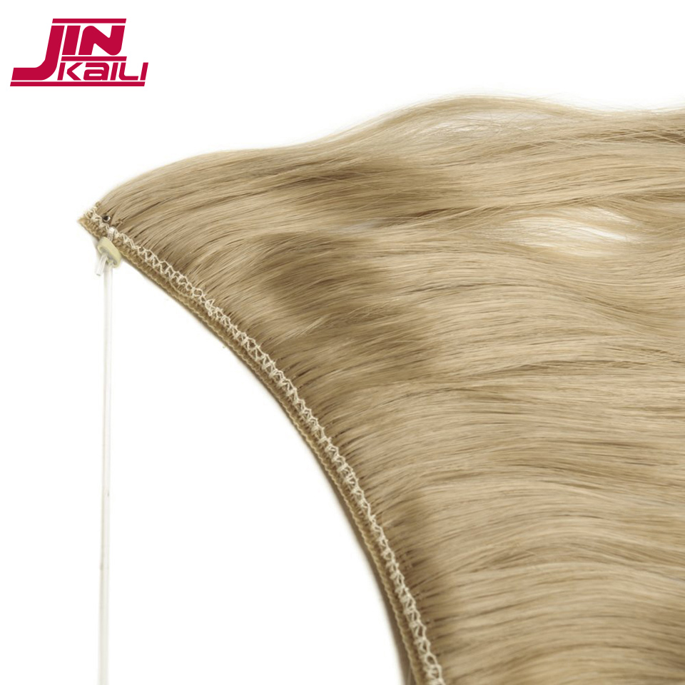 JINKAILI Long 24 inch Real Natural hair Invisible Wire in Synthetic Hair Extensions No Clip ins with Secrect Line Easy Attach