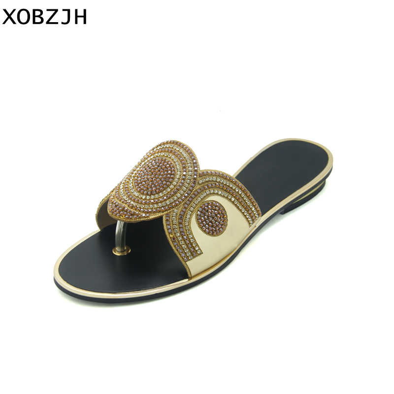 XOBZJH 2019 Women Summer Shoes Rhinestone Flat Sandals Luxury Ladies Party  Shoes Woman Gold Flip Flops 08fe872714d0