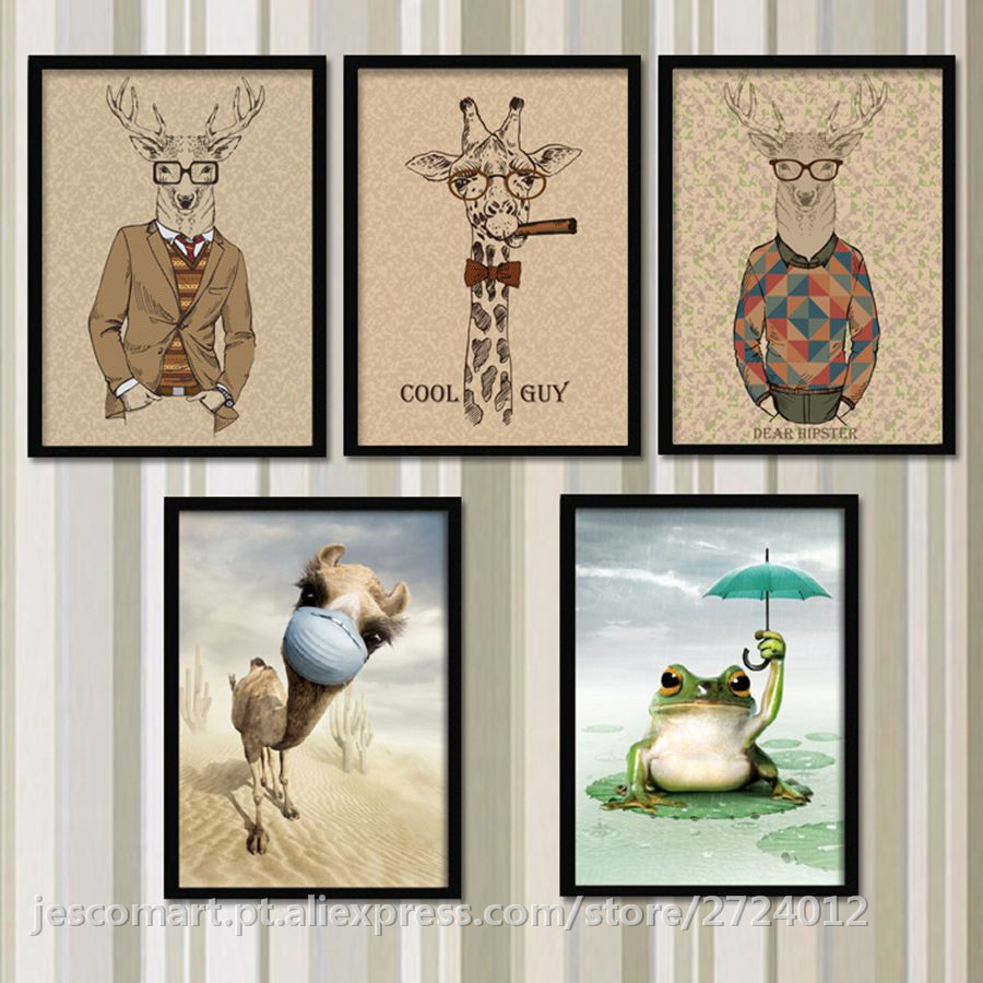 Painting Animal Wall Art Horse Frog Deer Elephant Cat Lion Camel Cut Painting Creative Style for Children <font><b>Bed</b></font> Room Living Room