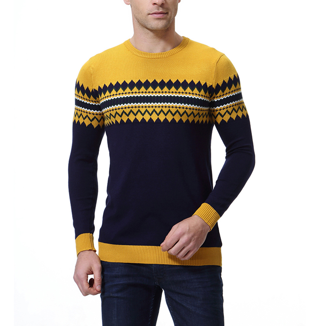 Sweater Men's Autumn Round Neck Sweater Colorblock Pullover Men's Sweater Y234