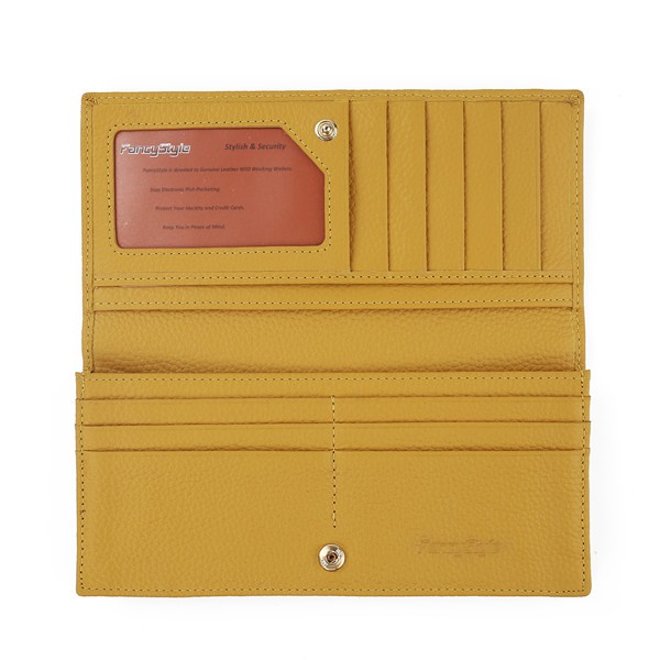 FancyStyle Women\'s RFID Blocking Wallet Clutch Long Bifold Pebbled Genuine Leather Travel Business Credit Card Holder Yellow (6)