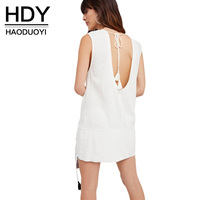 HDY Backless Dress Women 2017 Summer Sexy Sweet Sleeveless One Piece Dress Lace Up A-line Dresses White Vestidos Plus Size