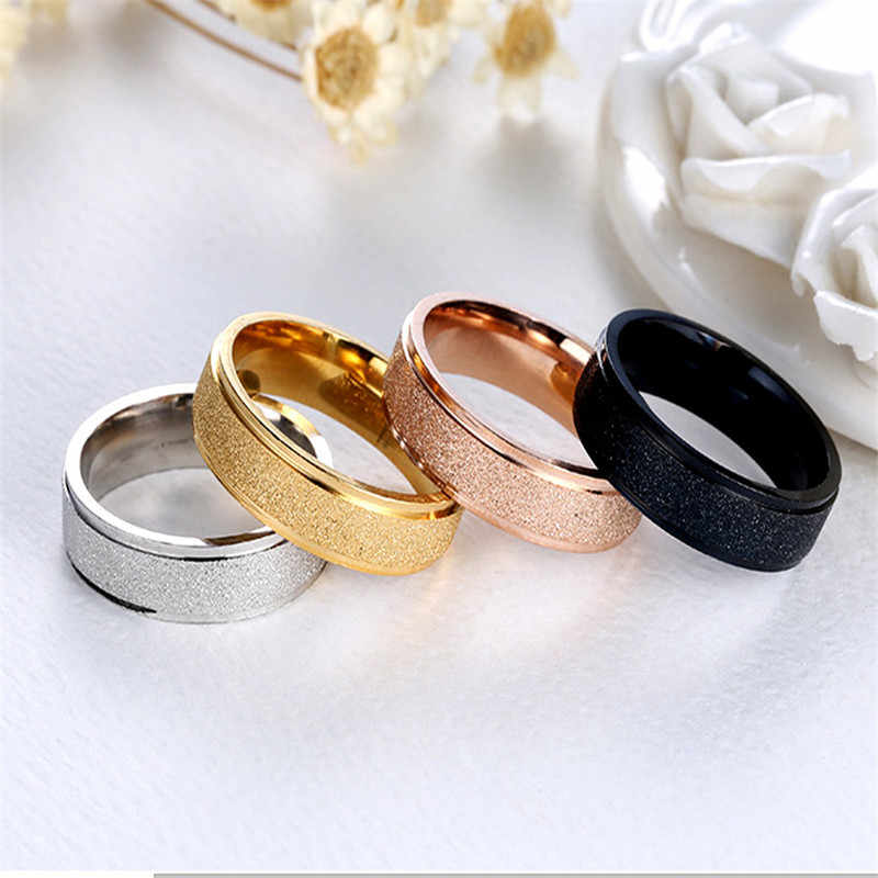 6mm Fashion Steel Simple Ring Female Vintage Matt Scrub Rings 316L Stainless Steel Rings For Women Men Jewelry