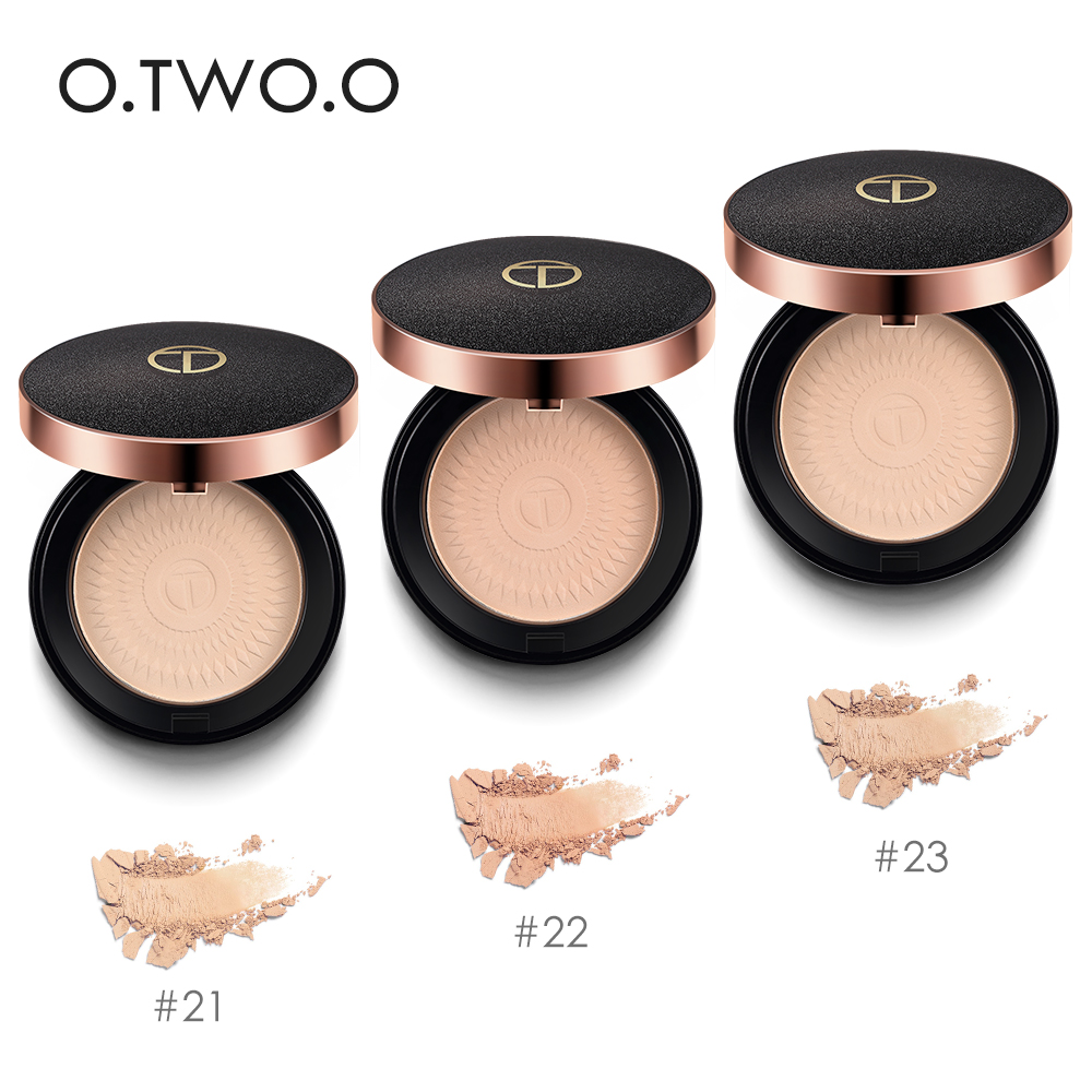 O.TWO.O Brand 3 Colors Face Powder Mineral Foundations Oil-control Brighten Concealer Whitening Make Up Pressed Powder With Puff image