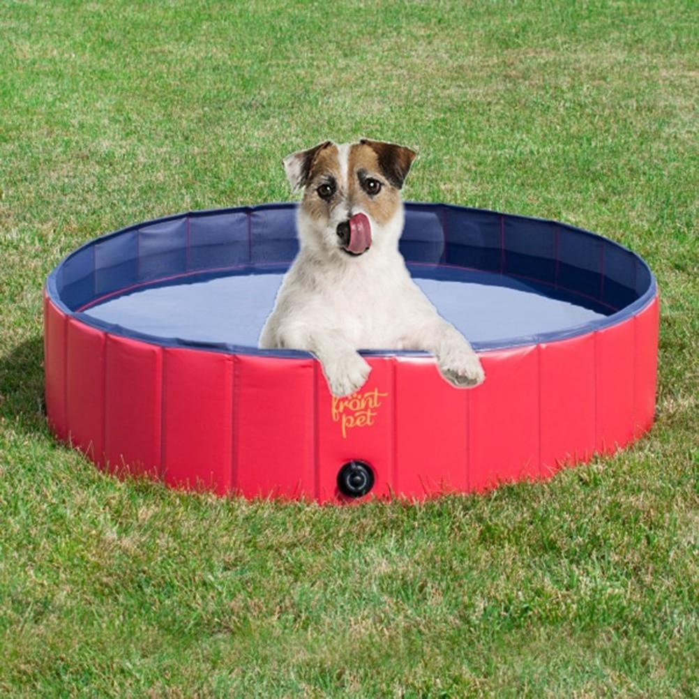 Pliable chien chat Pet baignoire piscine baignoire laveuse (rouge)