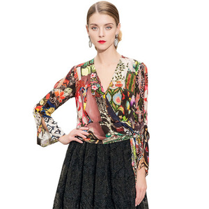 Image 5 - free shipping DHL Spring/summer 2019 new silk sexy v neck cuff cut waist lace printed silk blouse