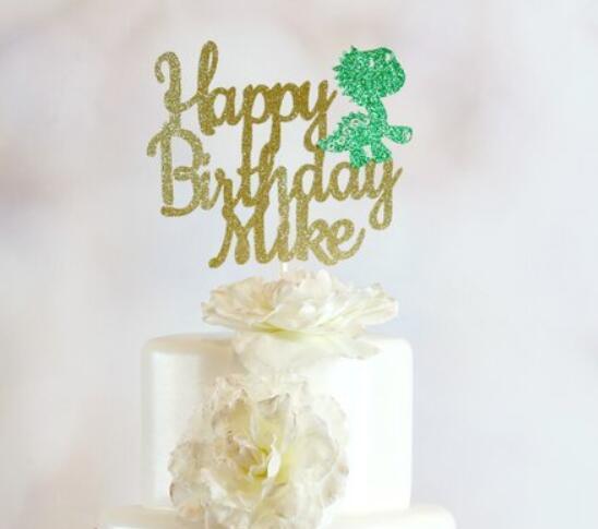 Nombre personalizado, dinosaurio con purpurina, centro de mesa con tema de dinosaurio, palillos para pastel de cumpleaños, adornos para la parte superior de una tarta de fiesta