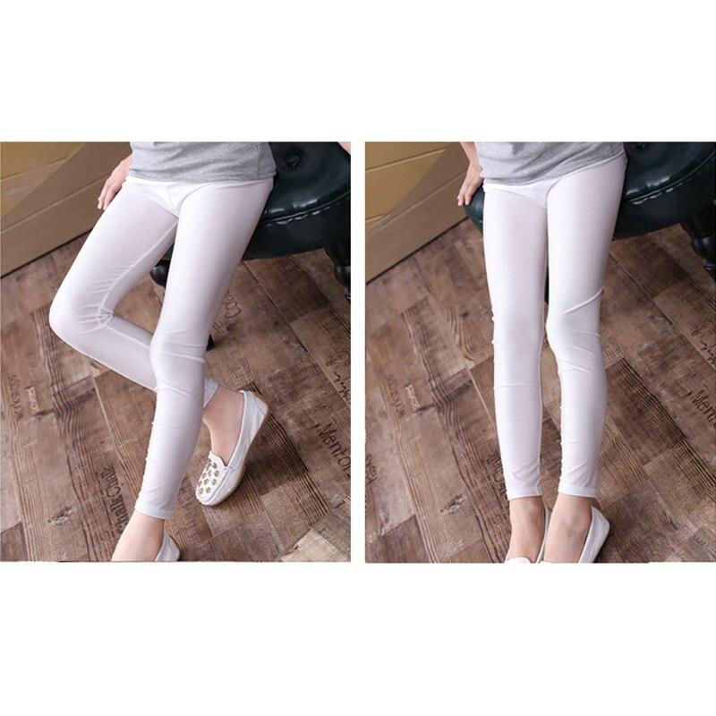 2-14 Years Girls Skinny Long Pants Shiny Black White Pink Children Bottoms Leggings Kids Elastic Trousers All-matches Leggings 5