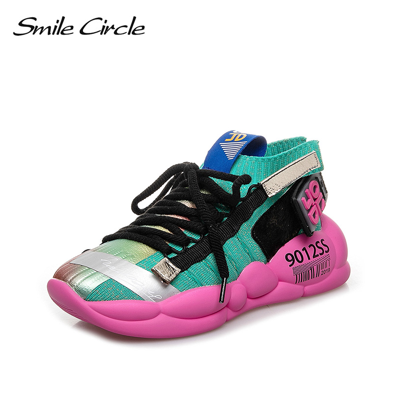 Smile Circle Chunky Sneakers Women flat platform shoes 2019 spring Summer Fashion street sneakers Lace-Up Ladies Sneakers